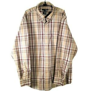 Basic Editions Men's Large Plaid Casual Shirt